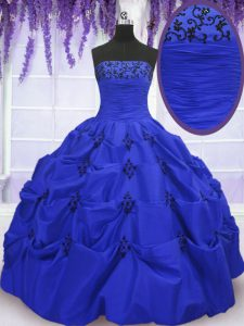 Discount Royal Blue Strapless Lace Up Embroidery and Pick Ups Quinceanera Dress Sleeveless