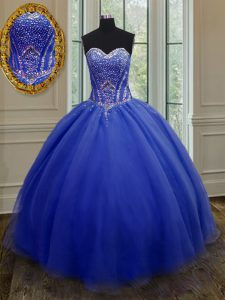 Glittering Sweetheart Sleeveless Lace Up Sweet 16 Dress Royal Blue Organza