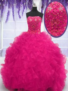 Fine Organza Strapless Sleeveless Brush Train Lace Up Beading and Ruffles 15 Quinceanera Dress in Fuchsia