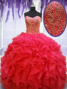 Coral Red Lace Up Quinceanera Gowns Beading and Ruffles Sleeveless Floor Length