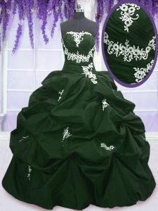 Captivating Dark Green and Peacock Green Quinceanera Gown Military Ball and Sweet 16 and Quinceanera and For with Appliq