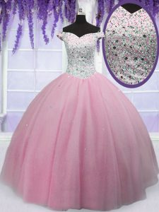 Glorious Off the Shoulder Short Sleeves Beading Lace Up 15th Birthday Dress