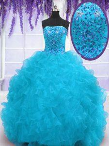 Cheap With Train Aqua Blue Quince Ball Gowns Organza Brush Train Sleeveless Beading and Ruffles