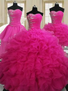 Four Piece Organza Sleeveless Floor Length Quinceanera Gowns and Beading