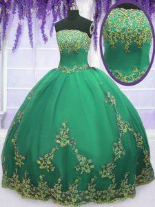 Fine Turquoise Tulle Zipper Strapless Sleeveless Floor Length Quinceanera Dresses Appliques