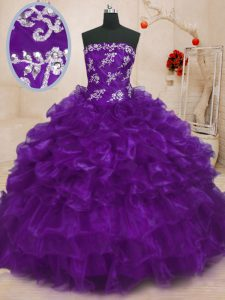 Pretty Purple Ball Gowns Beading and Appliques and Ruffles Sweet 16 Quinceanera Dress Lace Up Organza Sleeveless Floor L