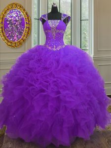 Best Selling Purple Organza Lace Up Straps Cap Sleeves Floor Length Vestidos de Quinceanera Beading and Ruffles and Sequ