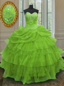 Comfortable Floor Length Yellow Green 15 Quinceanera Dress Organza Sleeveless Beading and Ruffled Layers and Pick Ups