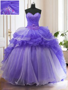 Purple Ball Gowns Beading and Ruffled Layers Sweet 16 Quinceanera Dress Lace Up Organza Sleeveless With Train
