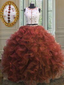 Simple Scoop Sleeveless Organza Floor Length Clasp Handle Vestidos de Quinceanera in Rust Red with Appliques and Ruffles