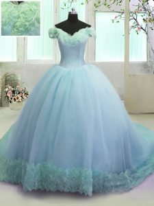 Off the Shoulder Sleeveless Organza With Train Court Train Lace Up Sweet 16 Quinceanera Dress in Light Blue with Hand Ma