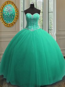 Sexy Sequins Ball Gowns Sweet 16 Dress Turquoise Sweetheart Tulle Sleeveless Floor Length Lace Up