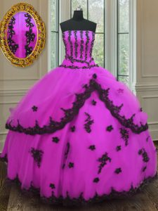 Ideal Fuchsia Strapless Neckline Appliques Sweet 16 Dresses Sleeveless Lace Up