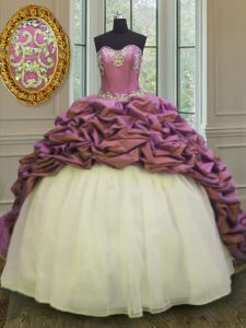 White And Purple Organza and Taffeta Lace Up Sweet 16 Dresses Sleeveless Sweep Train Beading and Appliques and Pick Ups