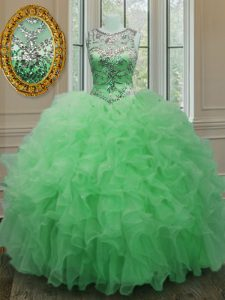 Scoop Green Sleeveless Organza Lace Up 15 Quinceanera Dress for Military Ball and Sweet 16 and Quinceanera