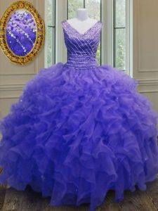 Free and Easy Organza V-neck Sleeveless Zipper Beading and Ruffles 15th Birthday Dress in Purple