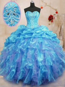 Aqua Blue Ball Gowns Beading and Ruffles Ball Gown Prom Dress Lace Up Organza Sleeveless Floor Length