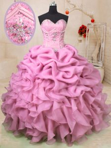 Custom Made Sweetheart Sleeveless Sweet 16 Quinceanera Dress Floor Length Beading and Ruffles and Pick Ups Baby Pink Org