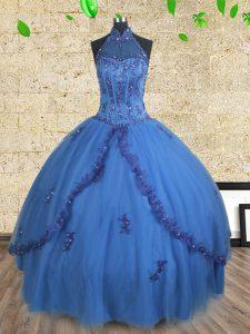 Best Halter Top Blue Sleeveless Floor Length Beading Lace Up 15 Quinceanera Dress