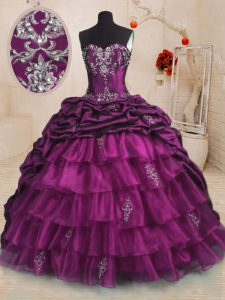 Purple Sleeveless Sweep Train Beading and Appliques and Ruffles and Pick Ups With Train Quince Ball Gowns