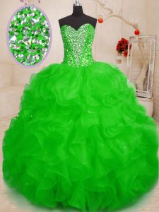 Dazzling Organza Sleeveless Floor Length Quinceanera Gowns and Beading and Ruffles
