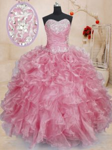 Low Price Sweetheart Sleeveless Lace Up Quinceanera Dress Pink Organza