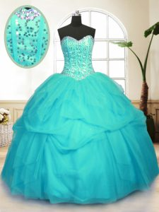 Vintage Aqua Blue Quinceanera Gowns Military Ball and Sweet 16 and Quinceanera and For with Sequins and Pick Ups Sweethe