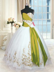 Glamorous White Sleeveless Floor Length Embroidery and Sashes ribbons Lace Up Quinceanera Gown