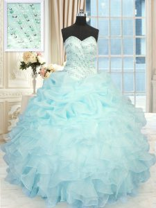 Romantic Aqua Blue Sweetheart Lace Up Beading and Pick Ups Quinceanera Dress Sleeveless