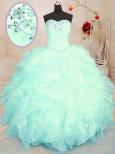 Delicate Sweetheart Sleeveless Sweet 16 Dresses Floor Length Beading and Ruffles Turquoise and Apple Green Organza