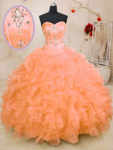 Sweetheart Sleeveless Lace Up Quinceanera Dress Orange Organza