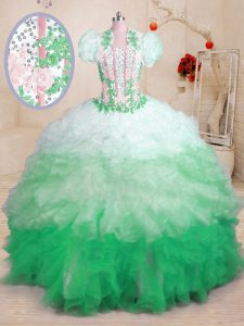 Customized Multi-color Organza Lace Up Sweetheart Sleeveless With Train Vestidos de Quinceanera Brush Train Beading and