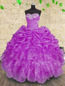 Customized Beading and Appliques and Ruffles and Ruching Quince Ball Gowns Purple Lace Up Sleeveless Floor Length