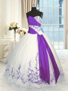 Excellent Sweetheart Sleeveless Lace Up Sweet 16 Quinceanera Dress White And Purple Organza
