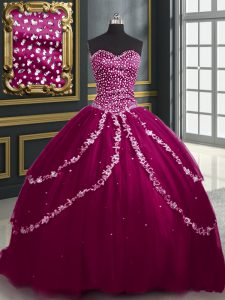 High Class Burgundy and Fuchsia Sweetheart Lace Up Beading and Appliques Sweet 16 Dress Brush Train Sleeveless