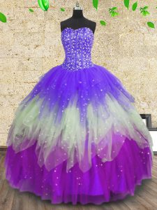 Sleeveless Floor Length Sequins Lace Up Quinceanera Dress with Multi-color