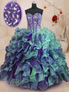 Amazing Organza Sleeveless Floor Length Sweet 16 Dress and Beading and Ruffles