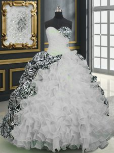 Decent Sweetheart Sleeveless Organza and Printed Quinceanera Gowns Beading and Ruffles and Pattern Brush Train Lace Up
