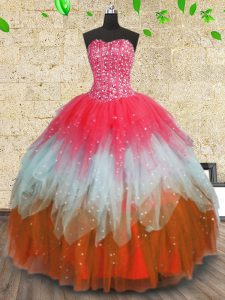 Multi-color Lace Up Quinceanera Dress Beading and Ruffles and Ruffled Layers Sleeveless Floor Length