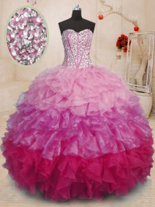 Graceful Sleeveless Organza Floor Length Lace Up Quinceanera Dress in Multi-color with Beading and Ruffles