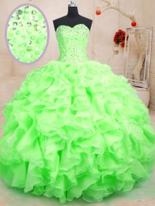 Simple Sleeveless Floor Length Beading and Ruffles Lace Up Ball Gown Prom Dress with