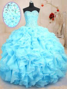 Super Baby Blue Ball Gowns Sweetheart Sleeveless Organza Floor Length Lace Up Beading and Ruffles Vestidos de Quinceaner