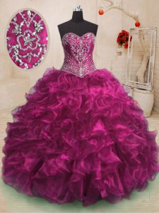 Vintage Fuchsia Quinceanera Dress Military Ball and Sweet 16 and Quinceanera and For with Beading and Ruffles Sweetheart