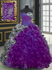 Customized Purple Organza and Printed Lace Up Sweetheart Sleeveless With Train Quince Ball Gowns Brush Train Beading and