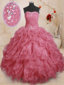 Floor Length Lace Up Quinceanera Gown Pink for Military Ball and Sweet 16 and Quinceanera with Beading and Ruffles and R