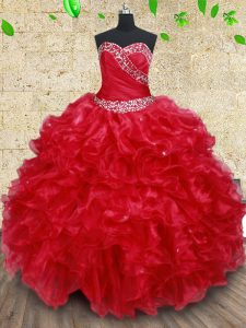 Red Ball Gown Prom Dress Military Ball and Sweet 16 and Quinceanera and For with Beading and Ruffles Sweetheart Sleevele