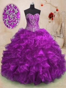 Purple Ball Gowns Sweetheart Sleeveless Organza With Train Sweep Train Lace Up Beading and Ruffles Quince Ball Gowns