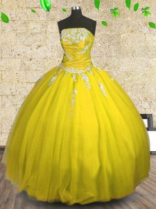 Yellow Sweet 16 Quinceanera Dress Military Ball and Sweet 16 and Quinceanera and For with Appliques and Ruching Straples