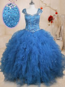 Floor Length Teal Ball Gown Prom Dress Tulle Cap Sleeves Beading and Ruffles and Sequins