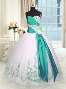 Noble Sleeveless Floor Length Embroidery and Sashes ribbons Lace Up Quinceanera Gown with White